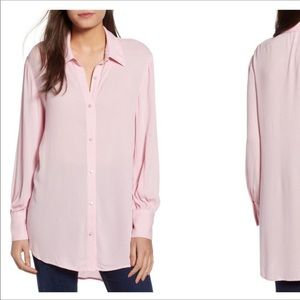 LEITH Women's Cuff Detail Tunic Size M Pink